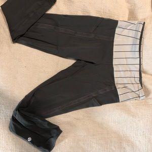 Grey Cropped High Waisted Lululemon Leggings